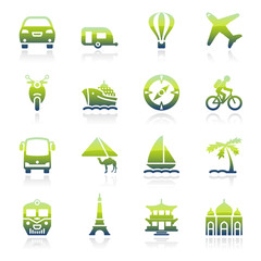Travel green icons.