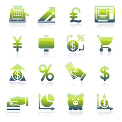Finance green icons.