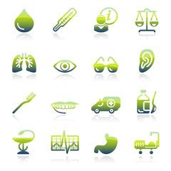 Medicine green icons.