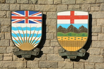 Coats of arms of Canadian provinces displayed on wall