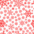 Christmas seamless pattern of snowflakes, red on white