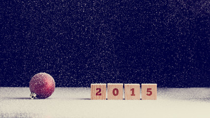2015 New Year background with snow