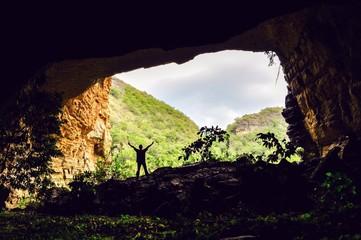 Man at cave