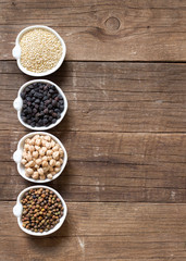 Cereals and legumes in bowls