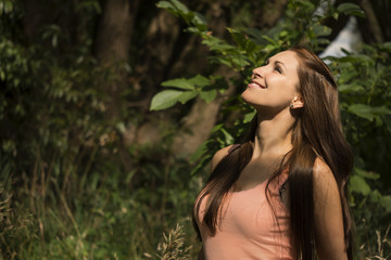 Pretty woman enjoying nature