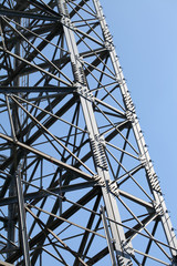 steel framework against a blue sky