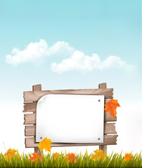 Nature background with autumn leaves and wooden sign Vector