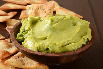 Guacamole and pita chips