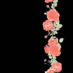 Seamless Border of red roses on dark background