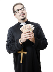 Isolated priest loves euro money