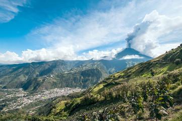 Eruption of a volcano Tungurahua in Ecuador