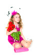 Beautiful girl and tulips