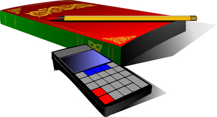 Old book, pencil and  vodern calculator. Vector illustration