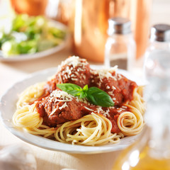 italian spaghetti and meatballs with salad