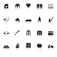 Insurance related icons with reflect on white background