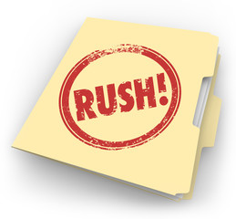 Rush Word Stamped Manila Time Sensitive Folder Documents Paperwo