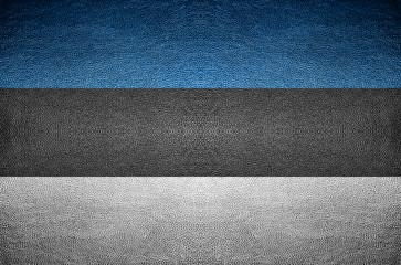 closeup Screen Estonia flag concept on PVC leather for backgroun