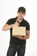 happy friendly confident delivery man carrying box