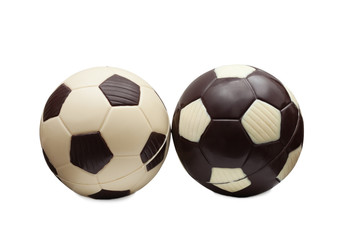 Soccer balls made of white and milk chocolate