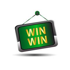 Win win icon buton label