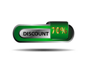 70 percent discount green button vector