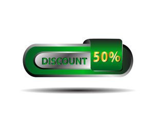 Long green 50 percent discount  button