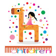 Happy children ride on giraffe