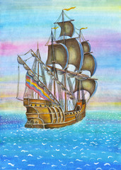 The Sailing, watercolor illustration