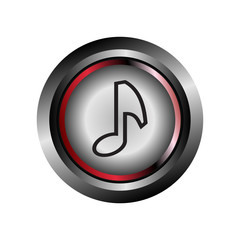 Glossy round music icon button vector