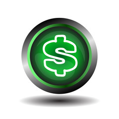 Green glossy Dollar sign button vector