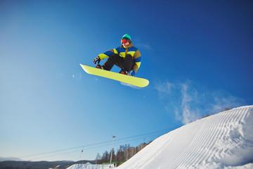 Snowboarding at resort