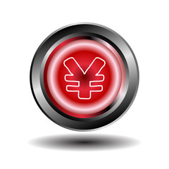 Yen button red glossy web icon vector