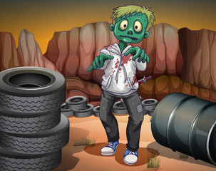 A scary zombie in the desert