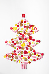 Christmas tree made from lollies and candy