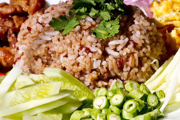close up of spicy fried rice with shrimp , Thai  food