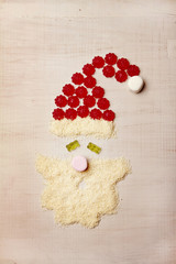 Santa shape from lollies and coconut