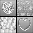 бумажный узор из сердца на сером фоне