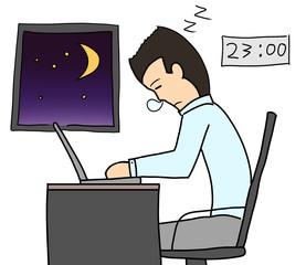 cartoon color salary man expression night work