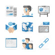 Business networking cooperation flat icons set