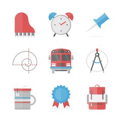 School objects flat icons set