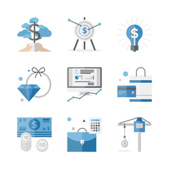Finance and investment money flat icons set