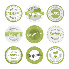 Natural organic product flat labels set