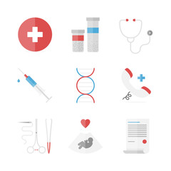 Medicine and clinical flat icons set