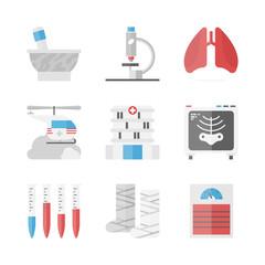 Hospital and medicine flat icons set
