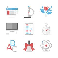 Educational items flat icons set