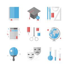 School education flat icons set