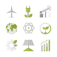 Sustainable development and green production flat icons set