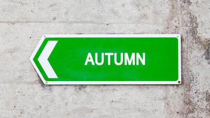 Green sign - Autumn