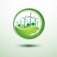 green city concept inside the leaf ,vector illustration