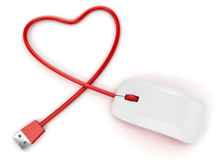 computer mouse with heart shape cable